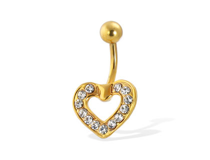 Diamond Heart Belly Ring