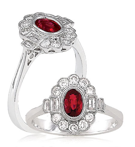 Diamond Ruby Floral Ring