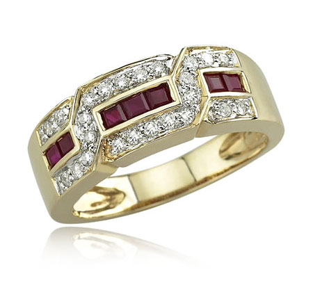 Gold Diamond Ruby Ring