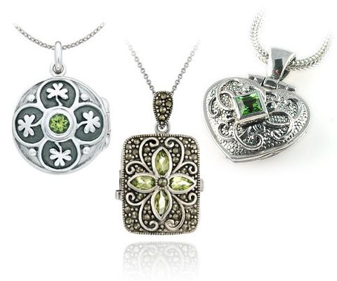 Silver Peridot Locket Necklace
