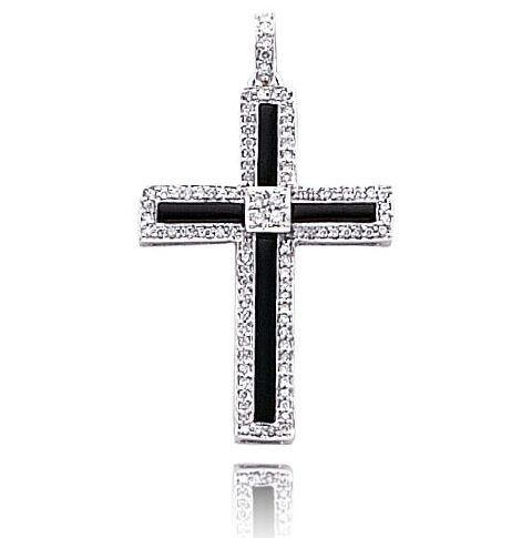 gold pendants for men. White Gold Onyx Cross Pendant
